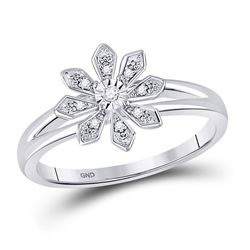 Sterling Silver Womens Round Diamond Flower Fashion Ring 1/20 Cttw