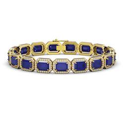 26.21 ctw Sapphire & Diamond Micro Pave Halo Bracelet 10k Yellow Gold