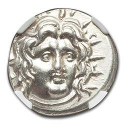 Carian Islands Rhodes AR Didrachm Helios (125-84 BC) MS NGC