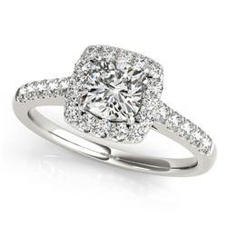 1.16 ctw Certified VS/SI Cushion Diamond Halo Ring 14k White Gold