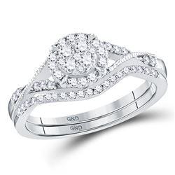10kt White Gold Womens Round Diamond Bridal Wedding Engagement Ring Band Set 3/8 Cttw