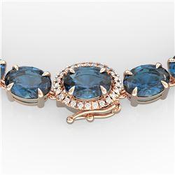 90 ctw London Blue Topaz & VS/SI Diamond Micro Necklace 14k Rose Gold