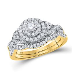 14kt Yellow Gold Womens Round Diamond Bridal Wedding Engagement Ring Band Set 5/8 Cttw