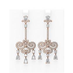 6.38 ctw Diamond Earrings 18K Rose Gold