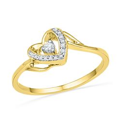 10kt Yellow Gold Womens Round Diamond Heart Promise Bridal Ring 1/12 Cttw