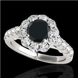 3 ctw Certified VS Black Diamond Solitaire Halo Ring 10k White Gold