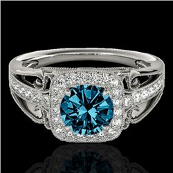 1.3 ctw SI Certified Fancy Blue Diamond Solitaire Halo Ring 10k White Gold