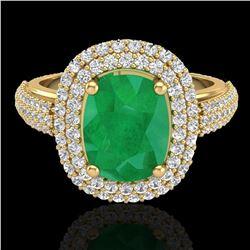 3.50 ctw Emerald & Micro Pave VS/SI Diamond Ring 18k Yellow Gold