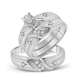 10kt White Gold His Hers Round Diamond Cross Matching Bridal Wedding Ring Band Set 1/5 Cttw