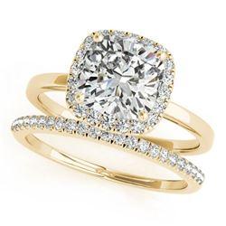 1.1 ctw Certified VS/SI Cushion Diamond 2pc Set Halo 14k Yellow Gold