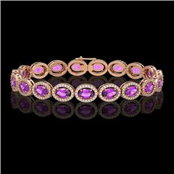 13.11 ctw Amethyst & Diamond Micro Pave Halo Bracelet 10k Rose Gold