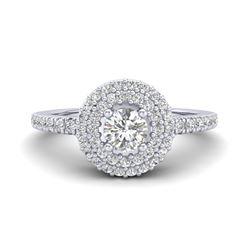 0.70 ctw Micro Pave VS/SI Diamond Designer Ring Halo 18k White Gold