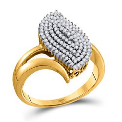 10kt Yellow Gold Womens Round Diamond Oval Cluster Ring 3/8 Cttw