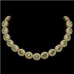 99.35 ctw Tourmaline & Diamond Victorian Necklace 14K Yellow Gold