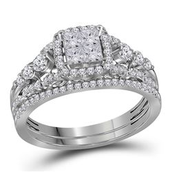 14kt White Gold Womens Princess Diamond Cluster Bridal Wedding Engagement Ring Band Set 1.00 Cttw