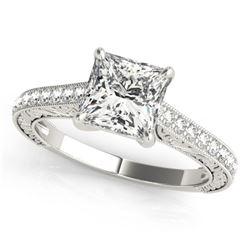 0.8 ctw Certified VS/SI Princess Diamond Ring 14k White Gold