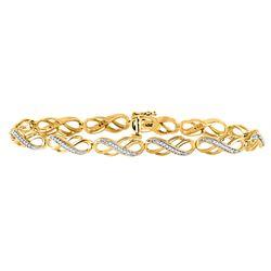10kt Yellow Gold Womens Round Diamond Infinity Bracelet 1/4 Cttw