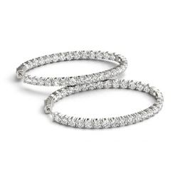 3 ctw Diamond VS/SI Certified 20 MM Hoop Earrings 14k White Gold