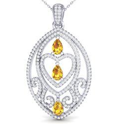3.50 ctw Yellow Sapphire & Micro Diamond Heart Necklace 18k White Gold