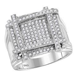 10kt White Gold Mens Round Diamond Square Cluster Ring 3/4 Cttw