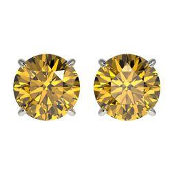 2.11 ctw Certified Intense Yellow Diamond Stud Earrings 10k White Gold