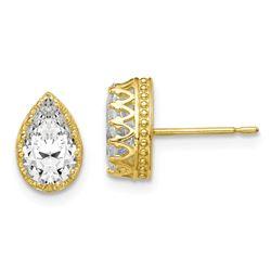 10k 9 mm Polished Pear Cubic Zirconia Earrings - 45 mm