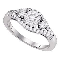 10kt White Gold Womens Round Diamond Flower Cluster Ring 5/8 Cttw