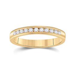14kt Yellow Gold Womens Round Diamond Wedding Band 1/4 Cttw