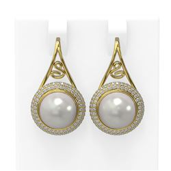 1.31 ctw Diamond & Pearl Earrings 18K Yellow Gold