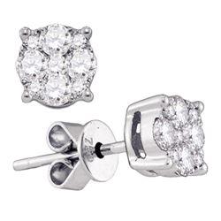 18kt White Gold Womens Round Diamond Cluster Earrings 1/3 Cttw