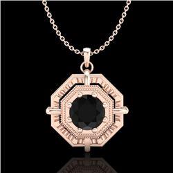0.75 ctw Fancy Black Diamond Art Deco Stud Necklace 18k Rose Gold