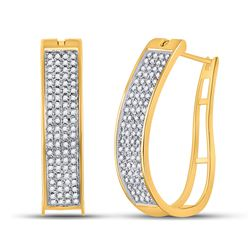 10kt Yellow Gold Womens Round Prong-set Diamond Four Row Hoop Earrings 1/2 Cttw