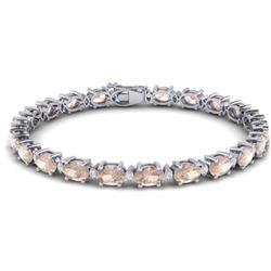 21.2 ctw Morganite & VS/SI Diamond Eternity Bracelet 10k White Gold