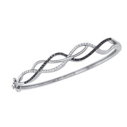 10kt White Gold Womens Round Black Color Enhanced Diamond Bangle Bracelet 3/8 Cttw