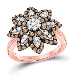10kt Rose Gold Womens Round Brown Diamond Flower Cluster Ring 1.00 Cttw