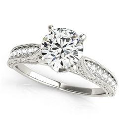0.98 ctw Certified VS/SI Diamond Antique Ring 18k White Gold