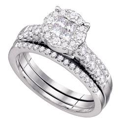 14kt White Gold Womens Princess Diamond Bridal Wedding Engagement Ring Band Set 1.00 Cttw