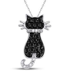 10kt White Gold Womens Round Black Color Enhanced Diamond Kitty Cat Feline Animal Pendant 1/3 Cttw