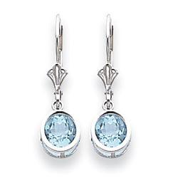 14k White Gold 6 mm Blue Topaz Leverback Earrings