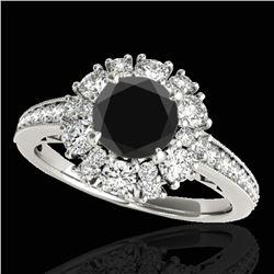 2.16 ctw Certified VS Black Diamond Solitaire Halo Ring 10k White Gold