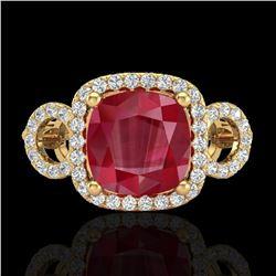 3.15 ctw Ruby & Micro VS/SI Diamond Certified Ring 18k Yellow Gold