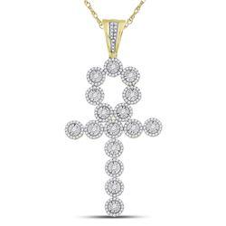 14kt Yellow Gold Mens Round Diamond Ankh Cross Charm Pendant 2-3/4 Cttw