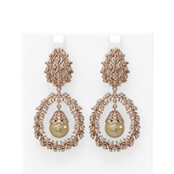 3 ctw Diamond & Pearl Earrings 18K Rose Gold