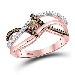 10kt Rose Gold Womens Round Brown Diamond Solitaire Ring 1/4 Cttw