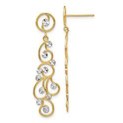 14k and Rhodium Filigree Dangle Earrings