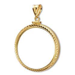 14K Gold Screw-Top Diamond-Cut Coin Bezel - 21.5 mm