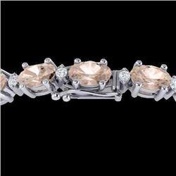 18.75 ctw Morganite & VS/SI Diamond Eternity Bracelet 10k White Gold