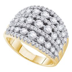14kt Yellow Gold Womens Round Pave-set Diamond Wide Fashion Band Ring 3.00 Cttw