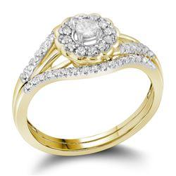 10kt Yellow Gold Womens Round Diamond Bridal Wedding Engagement Ring Set 1/4 Cttw