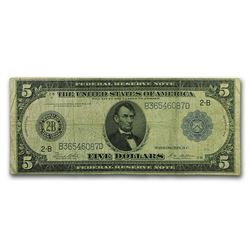 1914 (B-New York) $5.00 FRN Fine